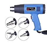 Swiusd-Tools Electric Hot Air Heat Gun Upgraded Dual Temperature Shrink Heat Gun Kit Industrial Blower for Crafts 572°F-1022°F+ 4 Nozzles Stainless Steel Power Heater(110V, 50-60Hz,1500W) (Blue)