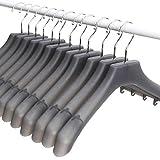 MR.SIGA Extraweit Anzugbügel Jackenbügel Kleiderbügel für Anzug / Kostüm, 12er-Pack, Breite: 15,5' 39,5cm, gekerbte Schultern & Drehhaken, Kunststoff, transluzent grau