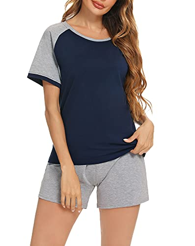 Aibrou Pijamas Mujer Verano Pijama Set Suave Cómodo Corto de Algodón Camiseta y Pantalones con Bolsillos 2 Piezas Ropa de Casa para Sexy
