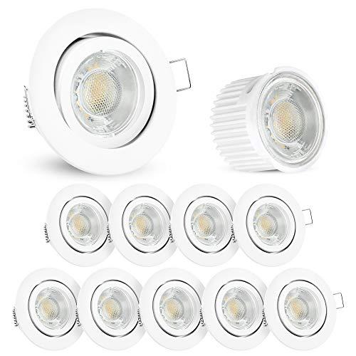 10x LED extra flache Einbauleuchte Set Form rund schwenkbar weiß lackiert | Einbaustrahler Set mit LED Module 5W Spot warmweiß