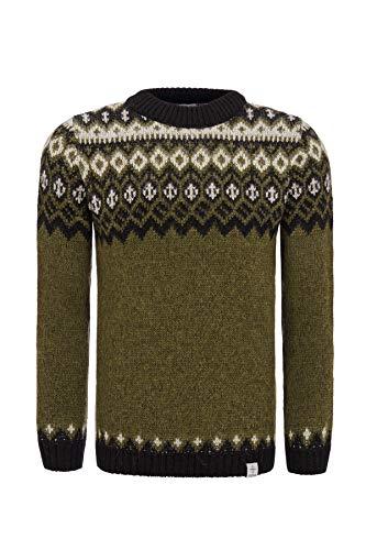 kidka Herren/Damen Isländischer Wollpullover – Farbkombination Grün-Schwarz-Weiß – Größe L