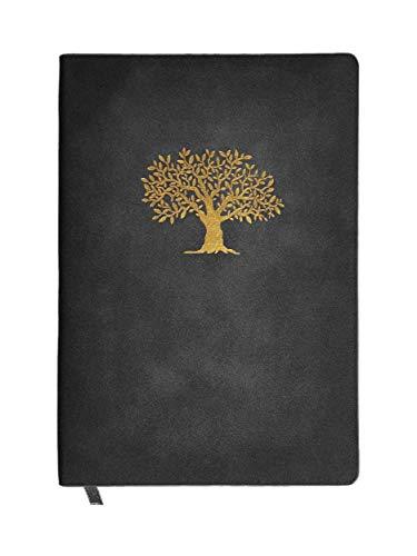 N&K A4 Notizbuch Bullet Journal dotted in Wildlederoptik Cover 120 Seiten festes Papier Notebook Premium Design und TOP Qualität Planer Organizer Terminplaner Taschenbuch Hausaufgabenheft - Schwarz