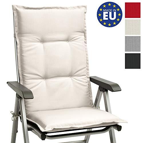 Beautissu Stuhlauflage Hochlehner Gartenstuhl Base HL Sitzkissen 120x50x6cm Rückenkissen Stuhlkissen für Gartenstühle Sitzpolster Natur