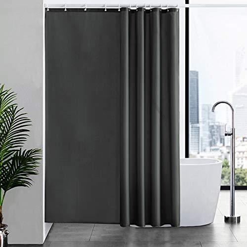 Furlinic Duschvorhang für Badewanne & Dusche in Badezimmer, Textiler Badvorhang Anti-schimmel aus Stoff Waschbar Wasserdicht, mit 12 Ringe 180x210 Dunkelgrau.