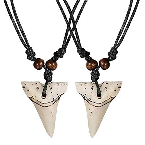 Milacolato 2pcs Haifischzahn-Halsketten-Satz-handgemachte Halskette mit justierbarer Baumwollschnur für Männer