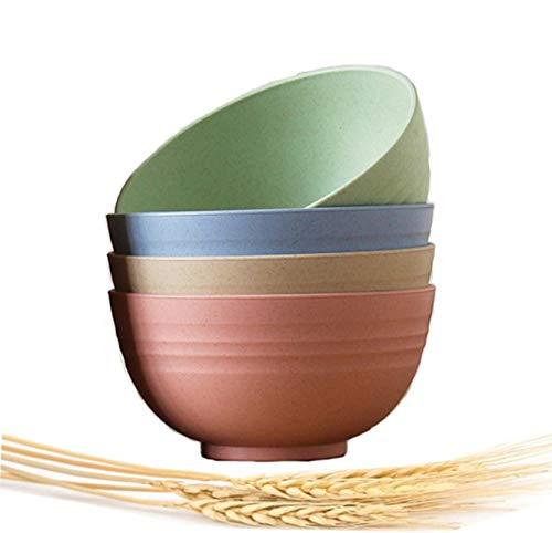 Choary - Juego de 4 cuencos de paja de trigo livianos y degradables, 15,24 cm, no tóxicos, saludables, ecológicos, aptos para lavavajillas, microondas, irrompibles,...