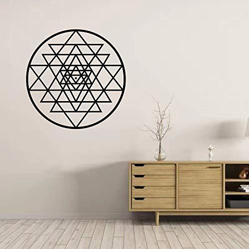 Patrón abstracto de Sri Yantra Geometría sagrada Triángulo geométrico Línea de círculo Etiqueta de la pared Calcomanía de vinilo Dormitorio Sala de estar Estudio de yoga Oficina Decoración para e