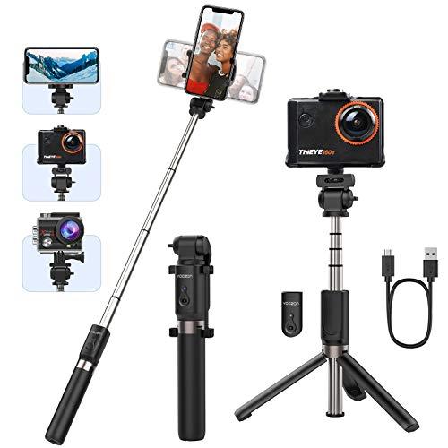 Yoozon Palo Selfie Trípode, Palo extensible de autofoto, 3 en 1 Selfie Stick Deportivo Portátil con Control Remoto Bluetooth y Rotación 360 para Viaje Autofoto, Gopro, Cámara de acción y teléfonos
