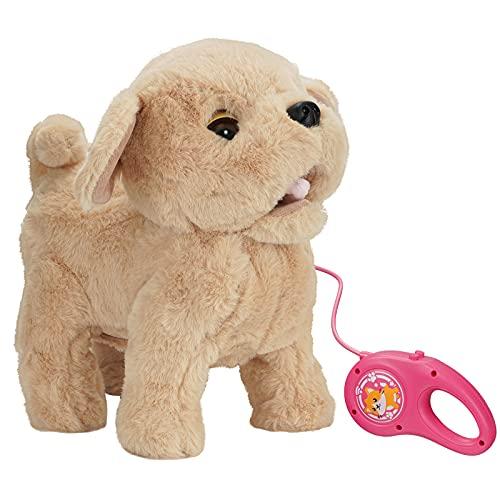 KOVA Hund Spielzeug Kinder Laufender Hund mit Leine der Läuft und Bellt Spielzeug Hund mit Funktionen Eektronisches Haustier Hund Golden Retriever Kuscheltier Roboter Hund mit Fell