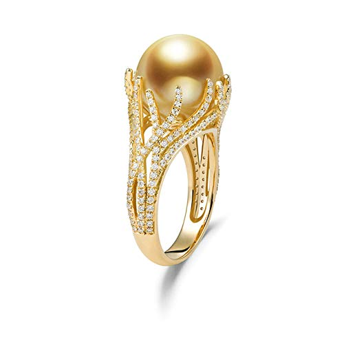 Adokiss Jewellery Ring Gold 750 Diamond, 10 mm South Sea Pearl Solitaire Ring with 0.62 Carat Diamond Engagement Ring Wedding Rings Gold Size 47 (15.0) to 65 (20.7) gold