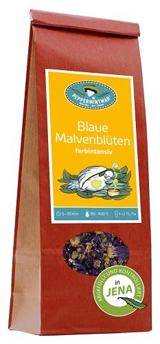 Blaue Malvenblüten für Kräutertee – Tee färbt sich 1-5 Minuten blau – PeppermintMan – Papiertüte (60g)