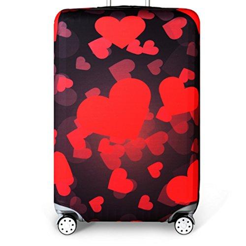 YianBestja Elastisch Reise Kofferschutzhülle Abdeckung Waschbar Kofferhülle Schutz Bezug Luggage Cover für 18-32 Zoll Koffer (Herz, XL (29-32 Zoll))