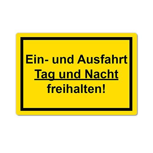 Einfahrt und Ausfahrt freihalten Schild 20 x 30 cm aus Stabiler PVC Hartschaumplatte 3mm mit UV-Schutz von STROBO