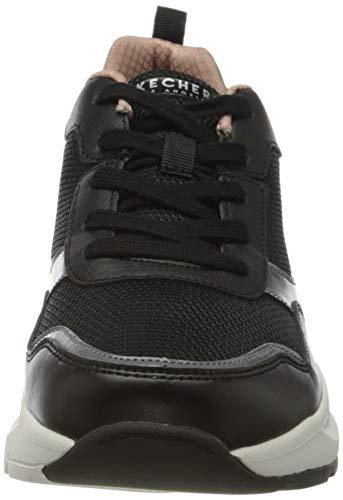 Skechers ROVINA Clean Sheen, Zapatillas Mujer, Negro Black Mesh Leather Durapatent Trim Blk, 39