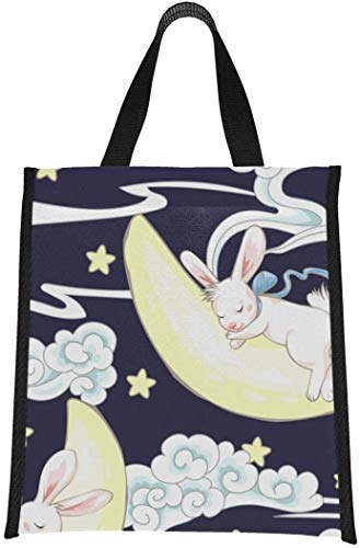 Bolsa de almuerzo con diseño de conejito y luna para dormir, bolsa de almuerzo para mujeres, reutilizable, plegable, mantiene la comida caliente / fría para mujeres, hombres, escuela, oficin