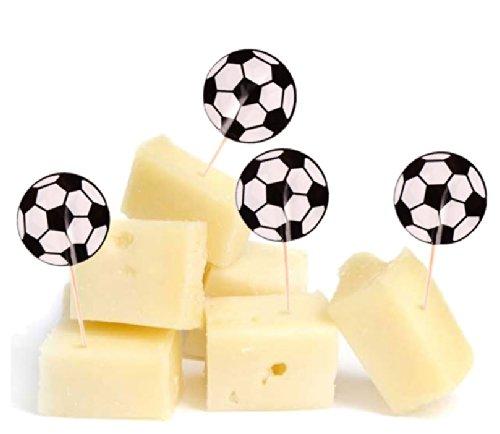 20 Muffin-Pickser * FUSSBALL-STADION * mit Sticker für Party und Geburtstag // Käse-Picker Kinder Geburtstag Party Fete Set Jungen Fussball Soccer