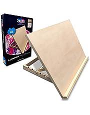 Premium A3 konst & hantverk arbetsstation - A3 justerbart träskrivbord/bordstaffli/ritbräda från Zieler® - perfekt för skissning, teckning och planering - Tillverkad av Beechwood - 5 olika vinklar