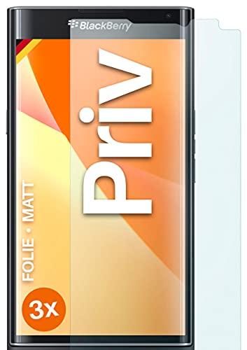 moex Schutzfolie matt kompatibel mit BlackBerry Priv - Folie gegen Reflexionen, Anti Reflex Bildschirmschutz, Matte Bildschirmfolie - 3X Stück