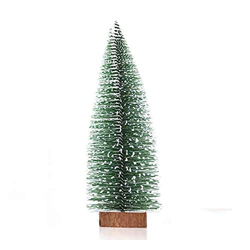 Small Snow Christmas Tree Artificial Frost Trees 1M String Lights Mini Ornaments Tabletop Trees Plastic Winter DIY Crafts Mini Pine Tree for Christmas Holiday Party Home Decor