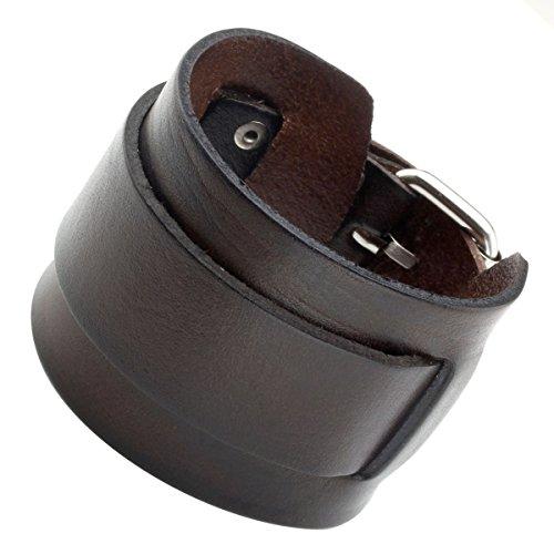 PiercingJ Breite Leder Echtleder Armband Armreifen Manschette Armband verstellbaren 7.2