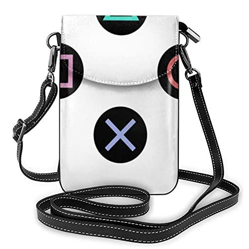 Juega con botones de mando Playstation Pequeña bolsa Crossbody para teléfono celular, monedero, tarjeta titular bolsa con correa para mujeres