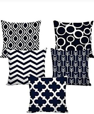 TOS Jute Printed Cushion Cover (Pack of 5, 40 cm*40 cm, Dark Blue Colour)