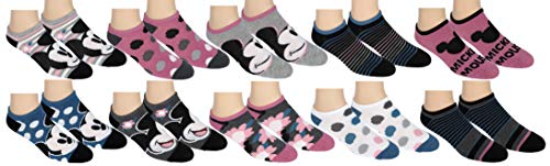 Disney Womens Mickey Mouse No Show Ankle Socks 10 Pair Pack Multi-Color