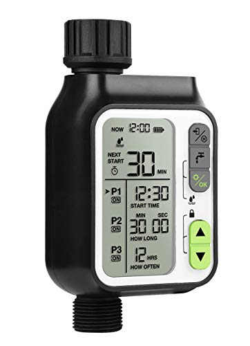 moistenland Sprinkler Timer, Water Timer for Hoses Programmable, Hose Timer with IP65 Waterproof for Outdoor Lawns & Garden, Up to 3 Timers Setting, Rain Sensor/Children Lock/3 Inches Large Screen