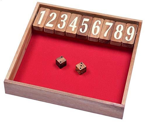 LOGOPLAY Jackpot Gr. XL - Shut The Box - Klappenspiel - Würfelspiel - Gesellschaftsspiel - Spielbox aus Holz