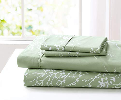 SL Spirit Linen Home EST. 1988 Foliage Collection Bed Sheet Set- Ultra Soft, Lightweight & Breathable Fabrics, Double Brushed Microfiber for Added Softness, Twin, Sage White