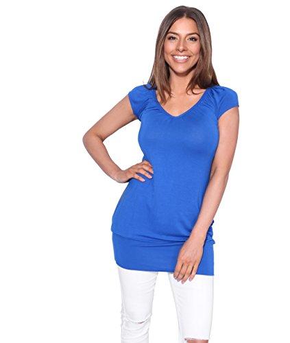 Damen Sommer T-Shirt Kurzarmshirt V-Ausschnitt Bluse Tunika Oberteil Top, Königsblau, 40, 7604-RBL-12