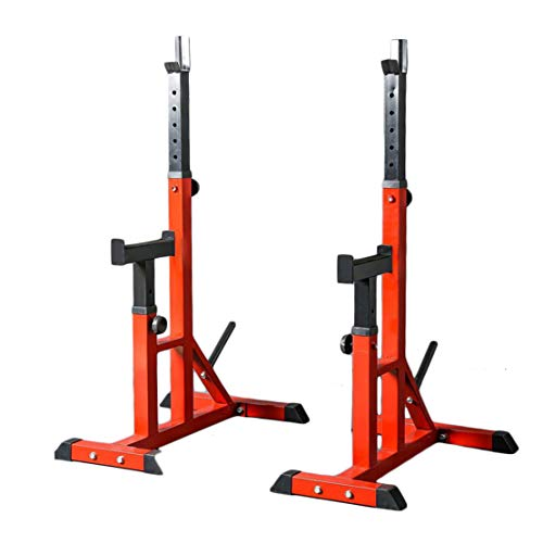 AKT Adjustable Barbell Stand Split Squat Rack Bodybuilding Gym Weightlifting Support Weight Bracket Load 200kg, Red
