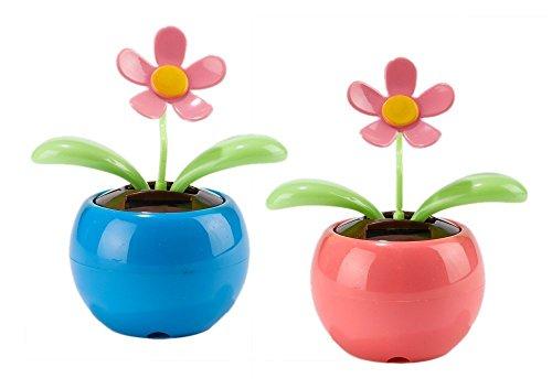 IFY Set of 2 Pink Blue Car Bee Happy Dancing Solar Flower