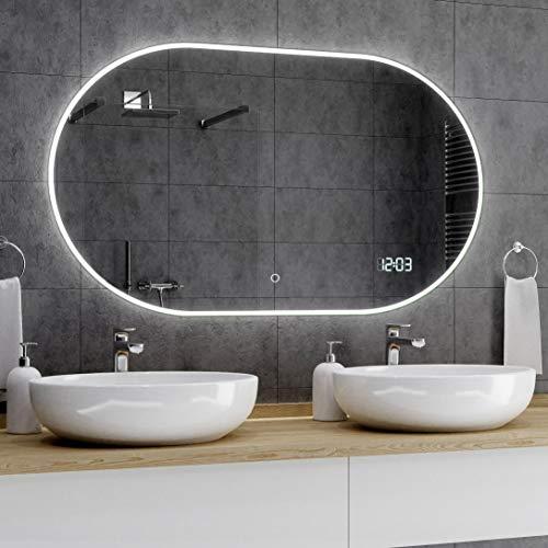Alasta® Premium Badkamerspiegel met Verlichting - 180x100 cm - Model Hamburgo - Spiegel met Aanraaklichtschakelaar en LED Klok
