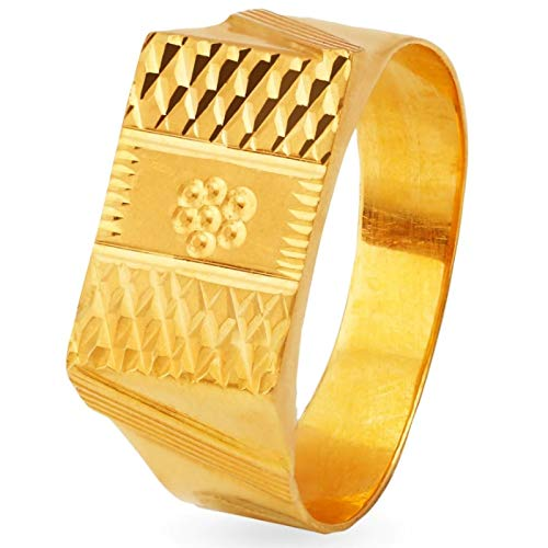 Certified Solid 22K Yellow Fine Gold Abstract Design Men's Finger Ring