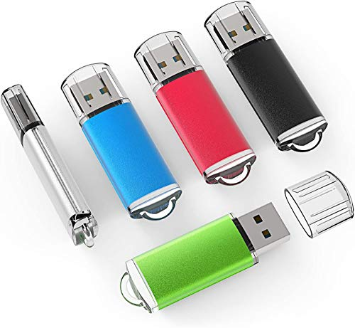 5 Pack 32GB USB 2.0 Flash Drive Memory Stick Thumb Drives (5 Mixed Colors: Black Blue Green Red Silver)