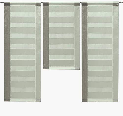 Decocompany Home Design Mini Flächenvorhang Set braun beige 2222 | 3 Teile | Scheibengardine Gesamtbreite 90cm (3x30cm) Höhe 80/60/80cm