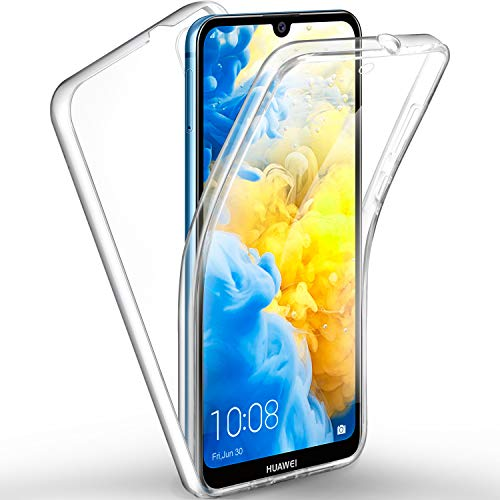 ivencase Coque Huawei Y5 2019, Huawei Y5 2019 Transparent Housse Silicone TPU Gel et PC Rigide 360 Degres Protection Anti Choc Full Body Etui Case pour Huawei Y5 2019