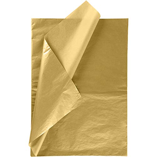 RUSPEPA Geschenkpapier Seidenpapier - Gold Metallic Seidenpapier für Heimarbeit Bastelarbeit Geschenkverpackung – 50 x 70 cm – 25 Blatt