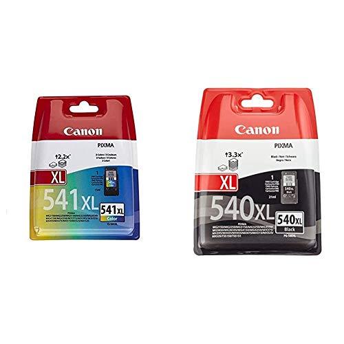 Canon 5226B005 - Cartucho de Tinta de Color 541XL, 3 + PG-540XL Cartucho de Tinta Original para Impresora de Inyeccion Pixma, Negro XL