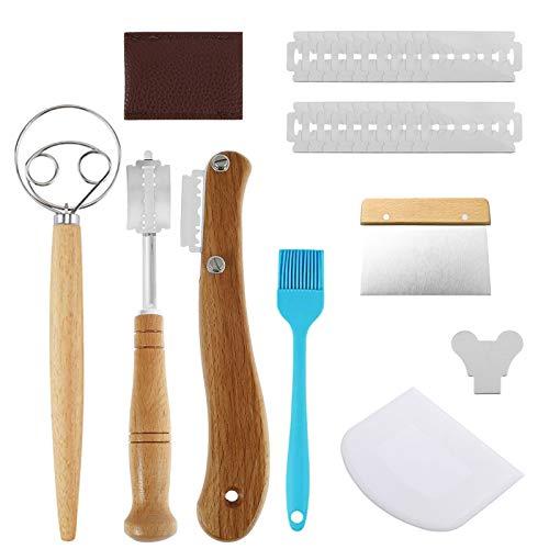 Bäckermesser Brot Lahm Scoring Tool Set, Teigmesser Baguettemesser Brot Bäcker Cutter, Ritzmesser zum Einschneiden mit 20 Rasierklinge, Teig Schneebesen, Teigschneider