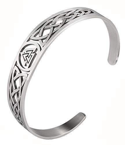 TEAMER Celtic Knot Armband Edelstahl Silber Manschette Armreif Aushöhlen Vintage Symbol Norse Amulett Schmuck für Frauen Männer