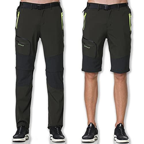 SOLOYEE Pantalones de Senderismo para Hombre Exterior Convertible Pantalones Cortos Secado Rápido Transpirable Funcional Pantalón, Verde-L
