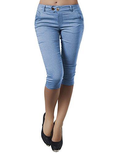 Minetom Damen Capri 3/4 Hose Kurze Caprihose Sommer Bermuda Stretch Stoffhose Sommerhose Knielang Leggings A Blau XL