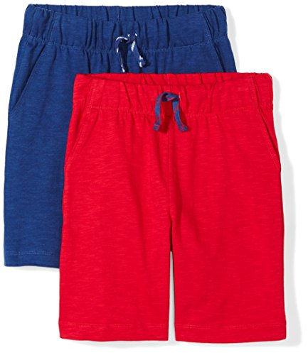 Spotted Zebra Boy's 2-Pack Jersey Casual Shorts Blue/Red Large (10)