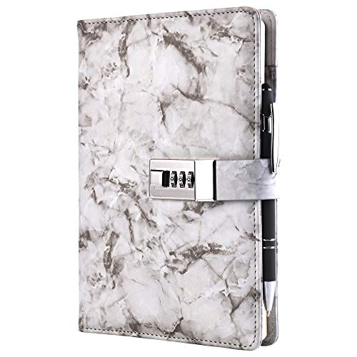 A5 Marble Diary with Lock and Key for Girls and Boys,Cute Teen Journal with Lock for Girls and Kids, Diary Lock Girls Journal with Ballpoint Pen for Touch Screen and Normal Writing