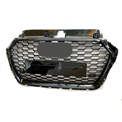 KKUFOO Auto-Frontheizkörpergrille Für RS3 Style Front Sport Sechskant Mesh Honeycomb Hood Grill Glänzend Schwarz Für Au-di A3 / S3 8V 2017-2019 Autozubehör (Color : Black Emblem)