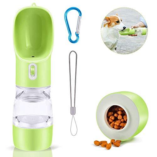 WelKin - Dispensador de botella de agua para perros y gatos, portátil, a prueba de fugas, para pasear, viajes, senderismo, para perros y gatos, botella de agua (verde)