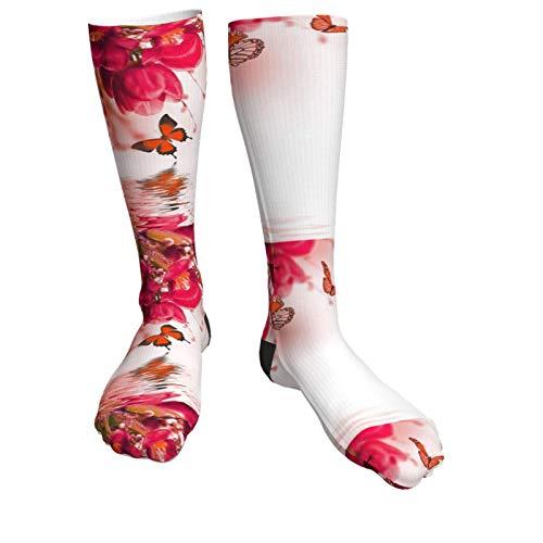 Jard-Baby Blaue Tulpen mit Mimose und Schmetterling, Unisex, atmungsaktiv, modisch, Quarter-Socken, Multi-Performance-Kissen, Wandersocken für draußen, Sportsocken für Damen