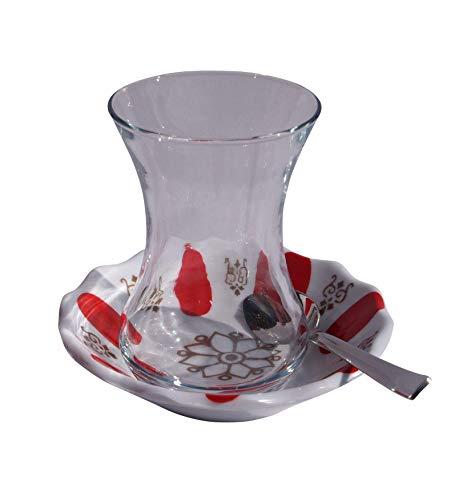 Orient-Feinkost 18 TLG. Türkisches Tee Set mit Melamin Rot Untertellern und Edelstahl Teelöffeln